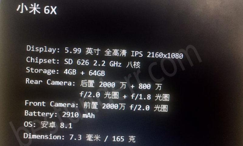 Xiaomi Mi A2 Android One Android Oreo Xiaomi Mi 6X
