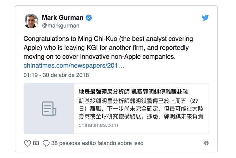 KGI Securities Apple analista Ming