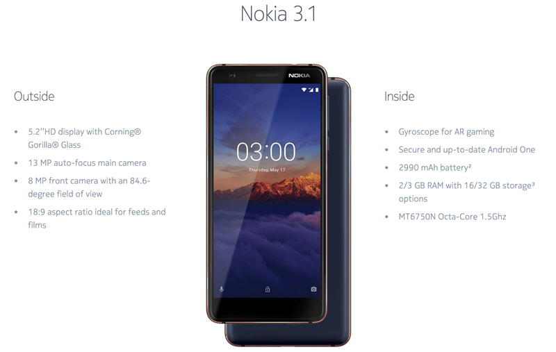 Nokia 3.1 Plus Android One