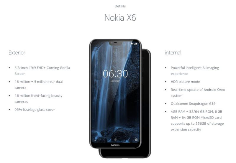 Nokia X6 Android Oreo 8.1 iPhone X