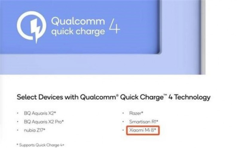 Qualcomm Xiaomi Mi 8 Android 1 Quick Charge