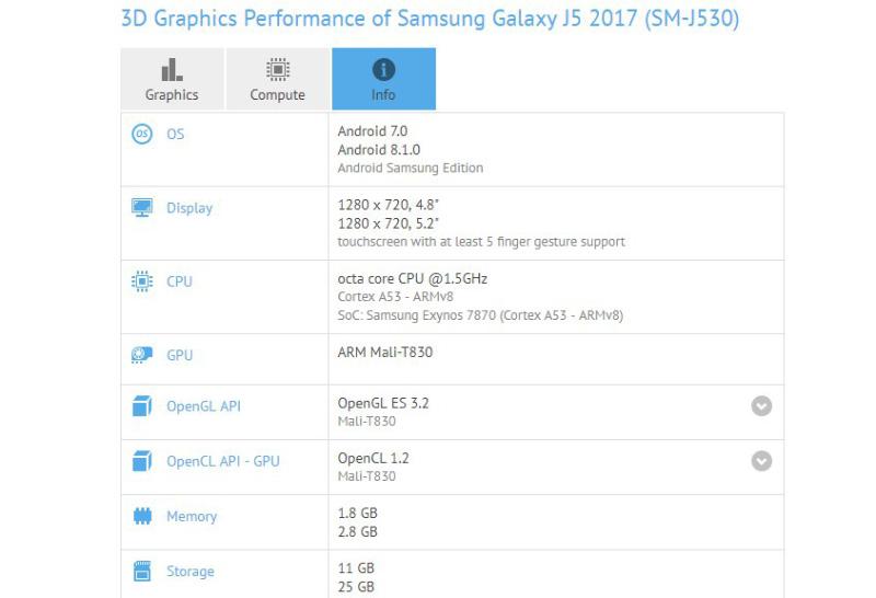 Samsung Galaxy J5 (2017) Android Oreo 8.1