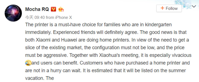 Xiaomi Huawei impressora