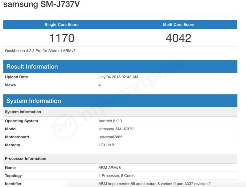 Samsung Galaxy J7 Aero Android Oreo
