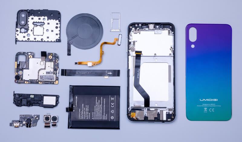 Android. Umidigi One Pro é desmontado e mostra a sua construção interna