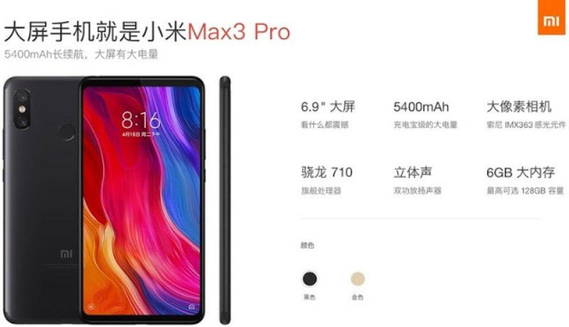 Xiaomi Mi MAX 3 Pro Android Oreo