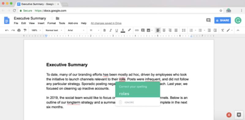 Google Chrome Grammarly Google Docs