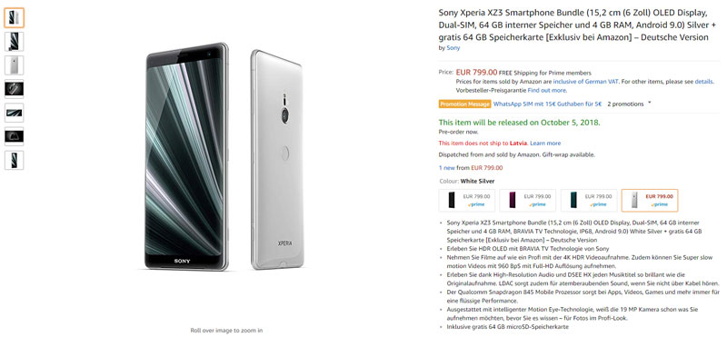 Sony Xperia XZ3 amazon android 4gnews