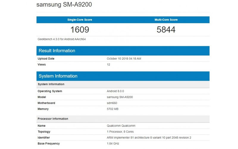Samsung Galaxy A9 Android Geekbench
