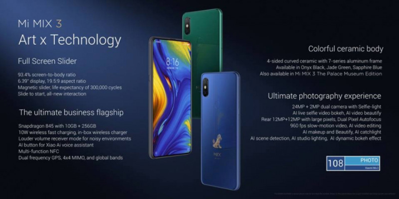 Xiaomi Mi MIX 3 Android Pie smartphone