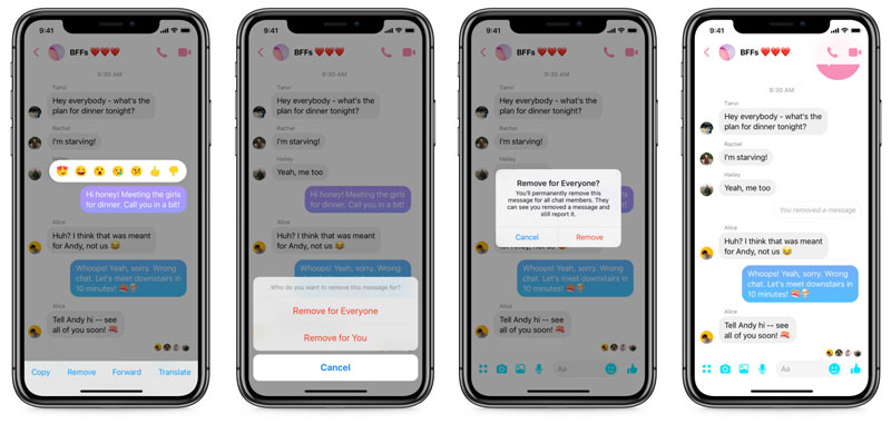 Facebook Messenger Delete Android iOS