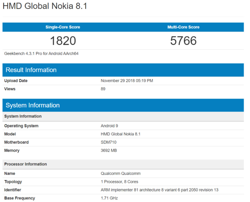 Nokia 8.1 Android One Geekbench Google
