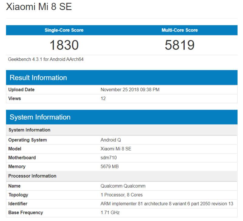 Xiaomi Mi 8 SE Geekbench Android Q