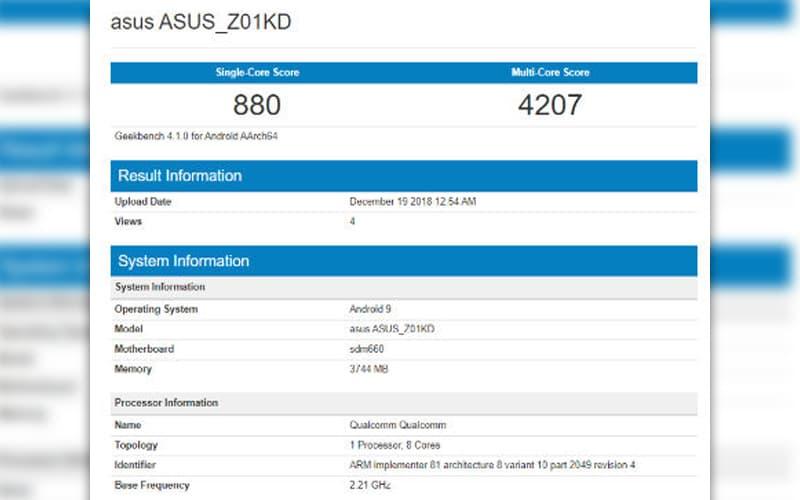 ASUS zenfone 4 Android Pie