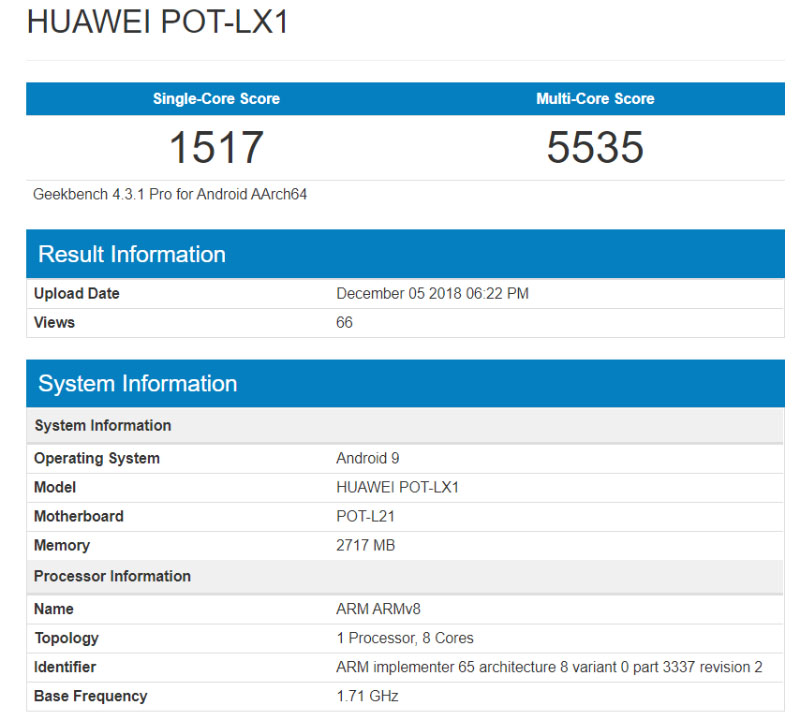 Huawei P Smart 2019 Android Pie Geekbench