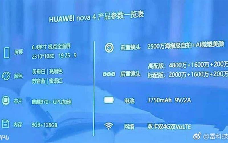 Huawei Nova 4 Android Specs