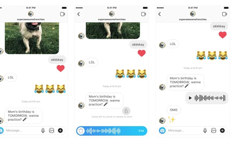 Instagram mensagem de Voz