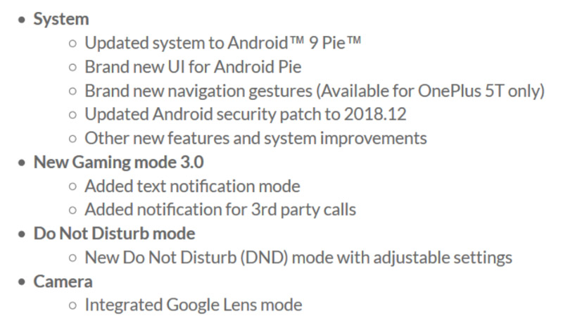 OnePlus 5T Android Pie OnePlus 5
