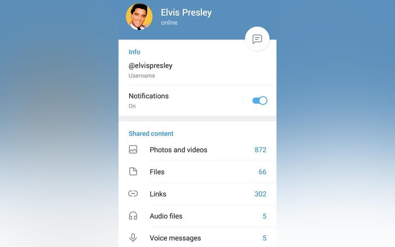 Telegram Perfil atualização
