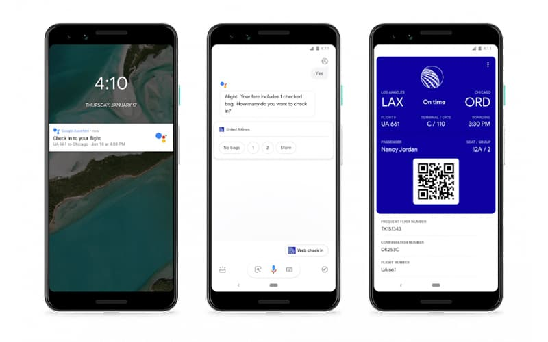 Google Assistant Boarding Pass