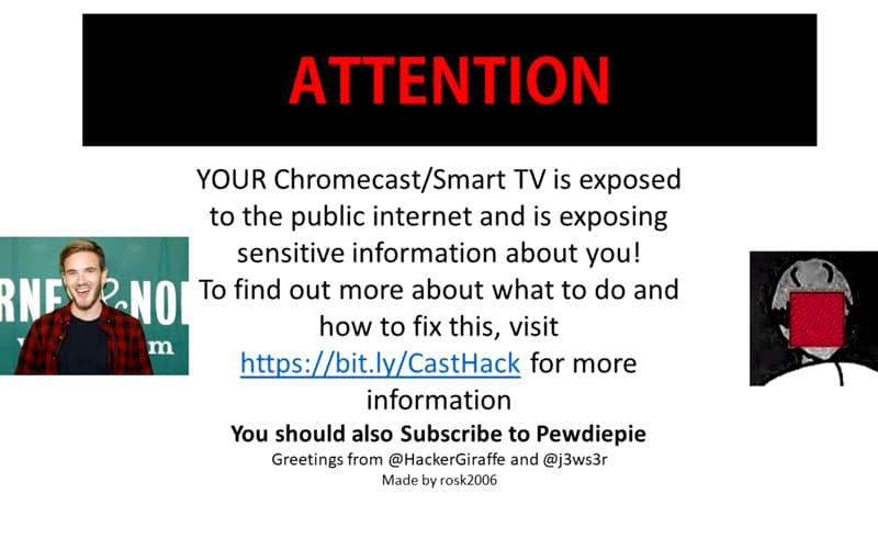 Google Chromecast PewDiePie hackeado