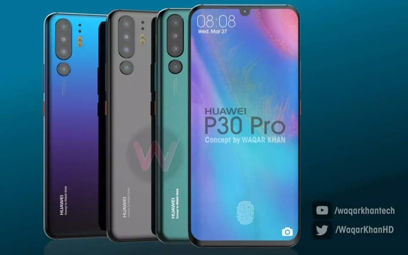 Huawei P30 Pro topo de gama Android conceito