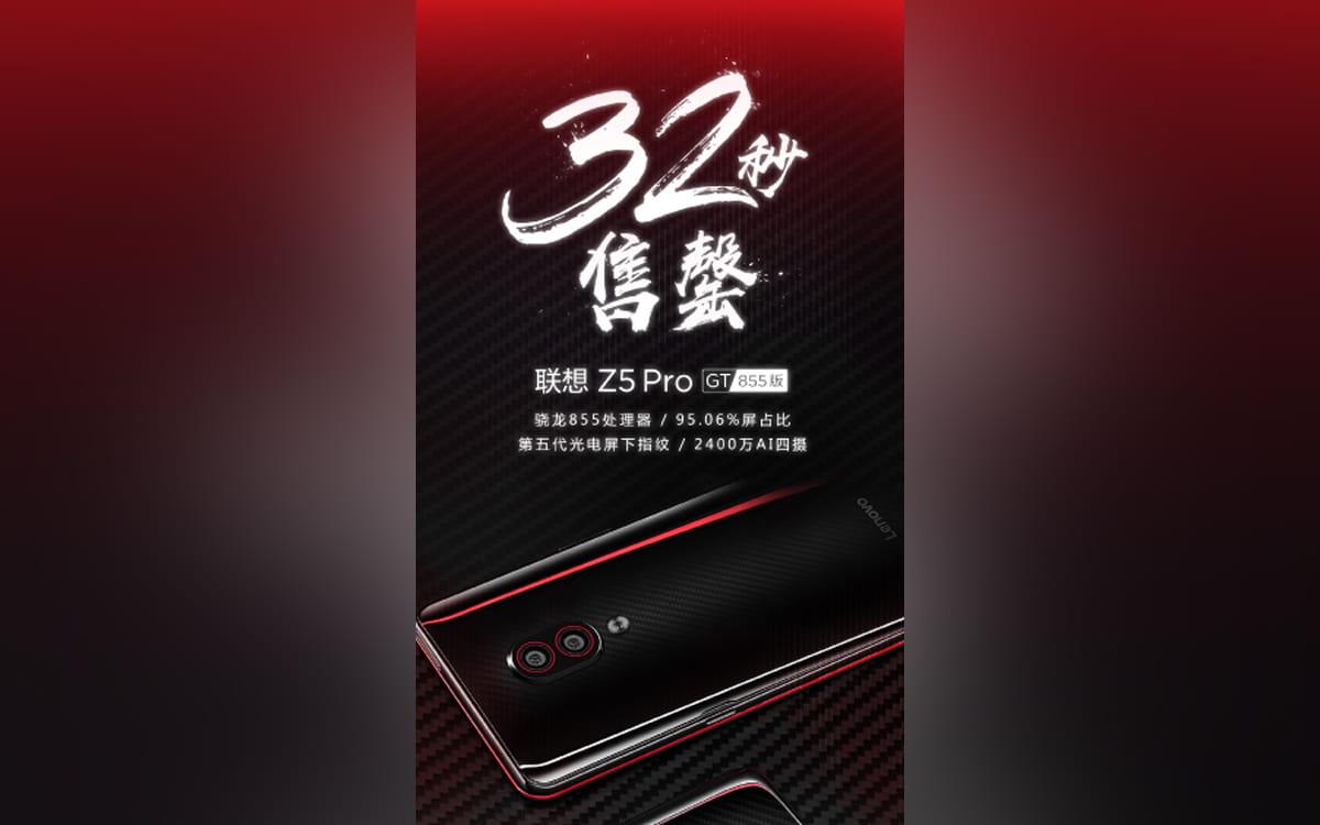 Lenovo Z5 Pro GT esgota 32 segundos
