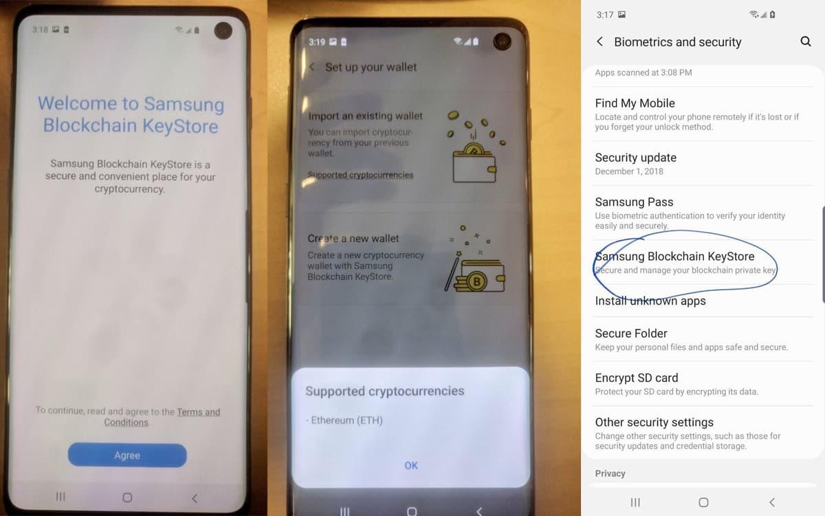 Samsung Galaxy S10 Bitcoin