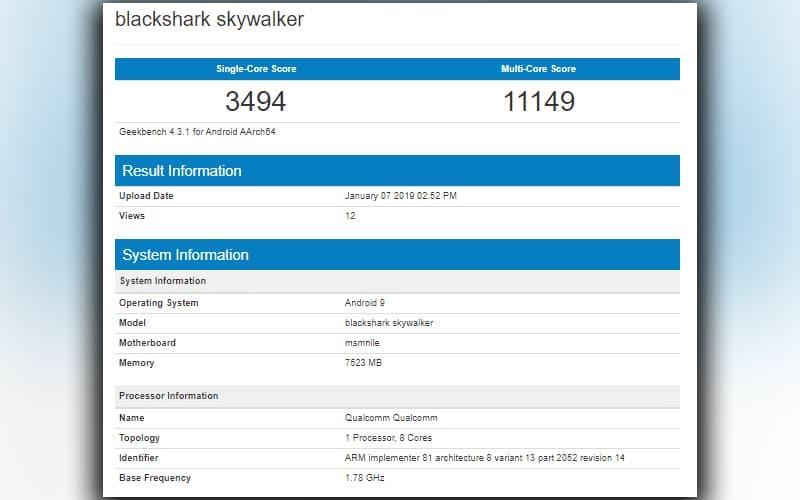 Xiaomi Black Shark Geekbench