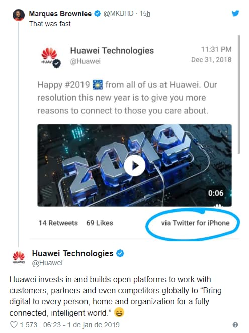Huawei Apple Twitter for iPhone