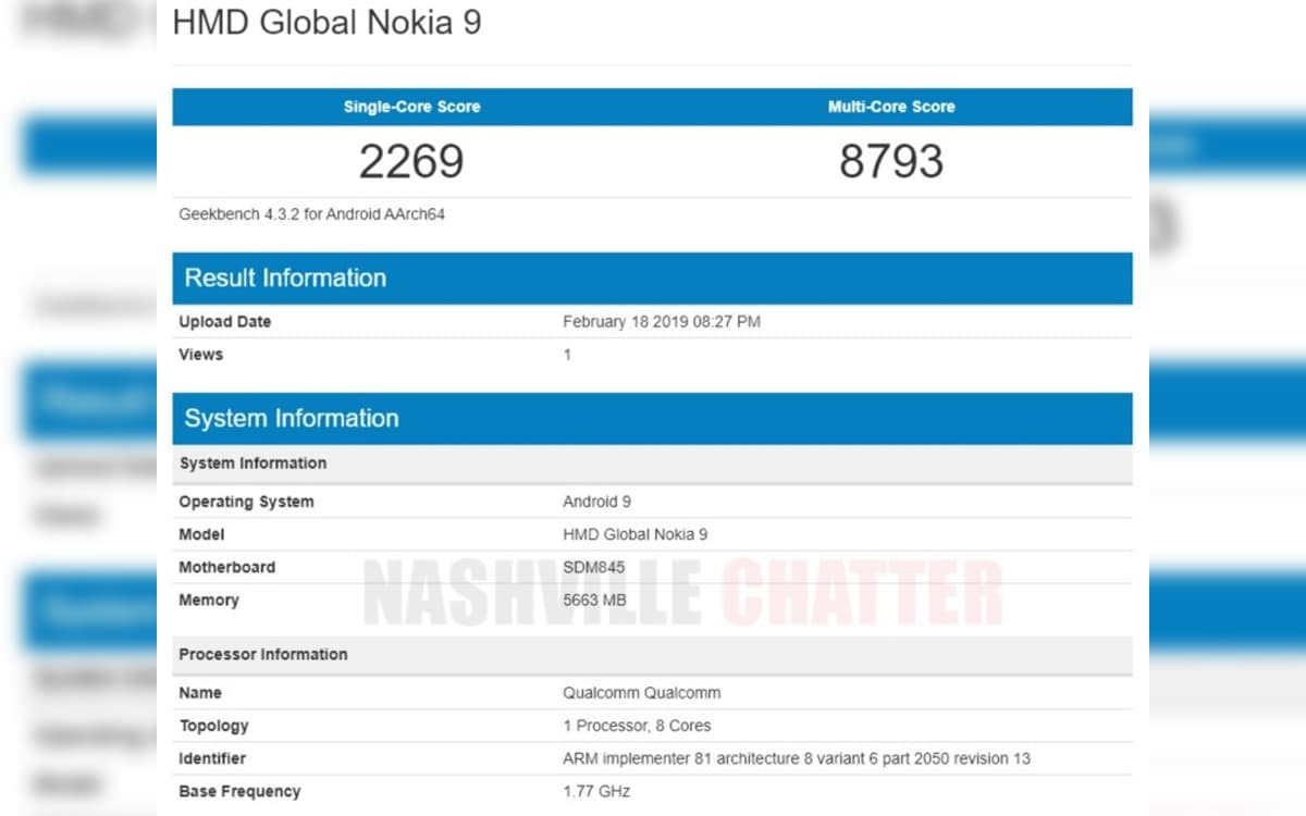 Nokia 9 PureView Geekbench