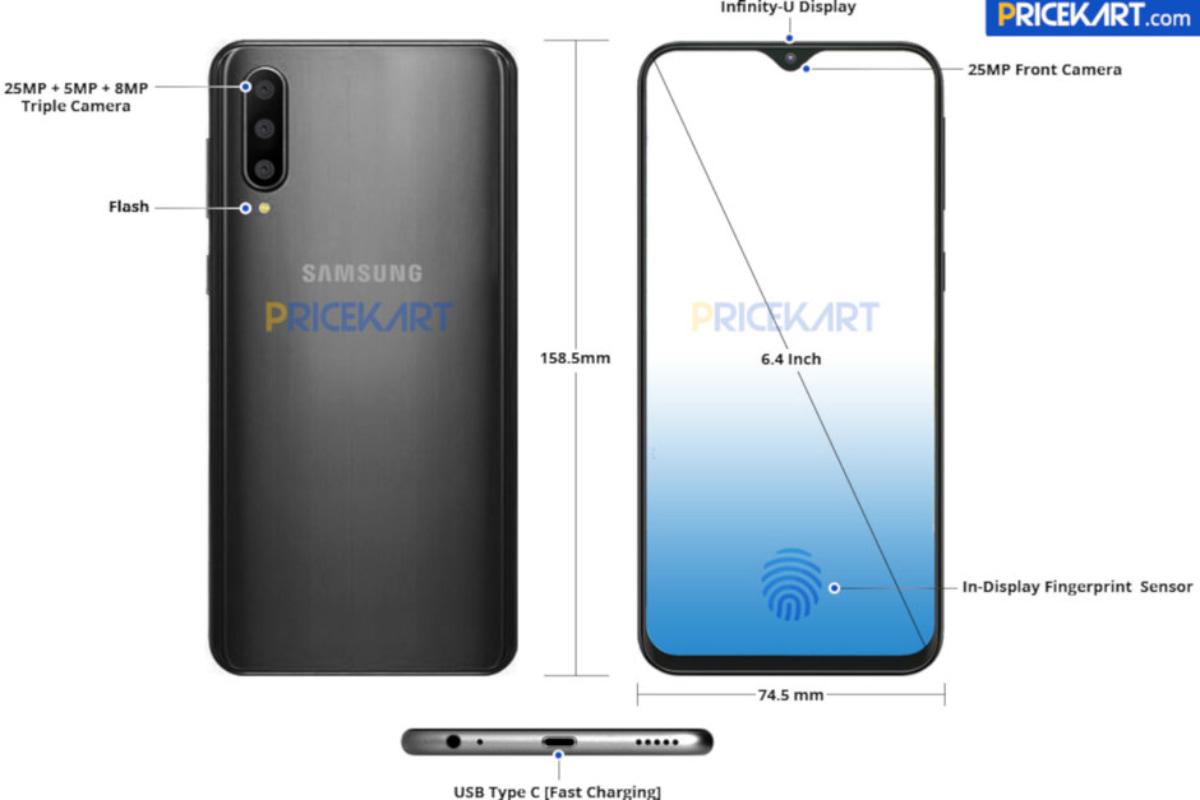 Samsung Galaxy A50: leak mostra câmara tripla e sensor biométrico no ecrã