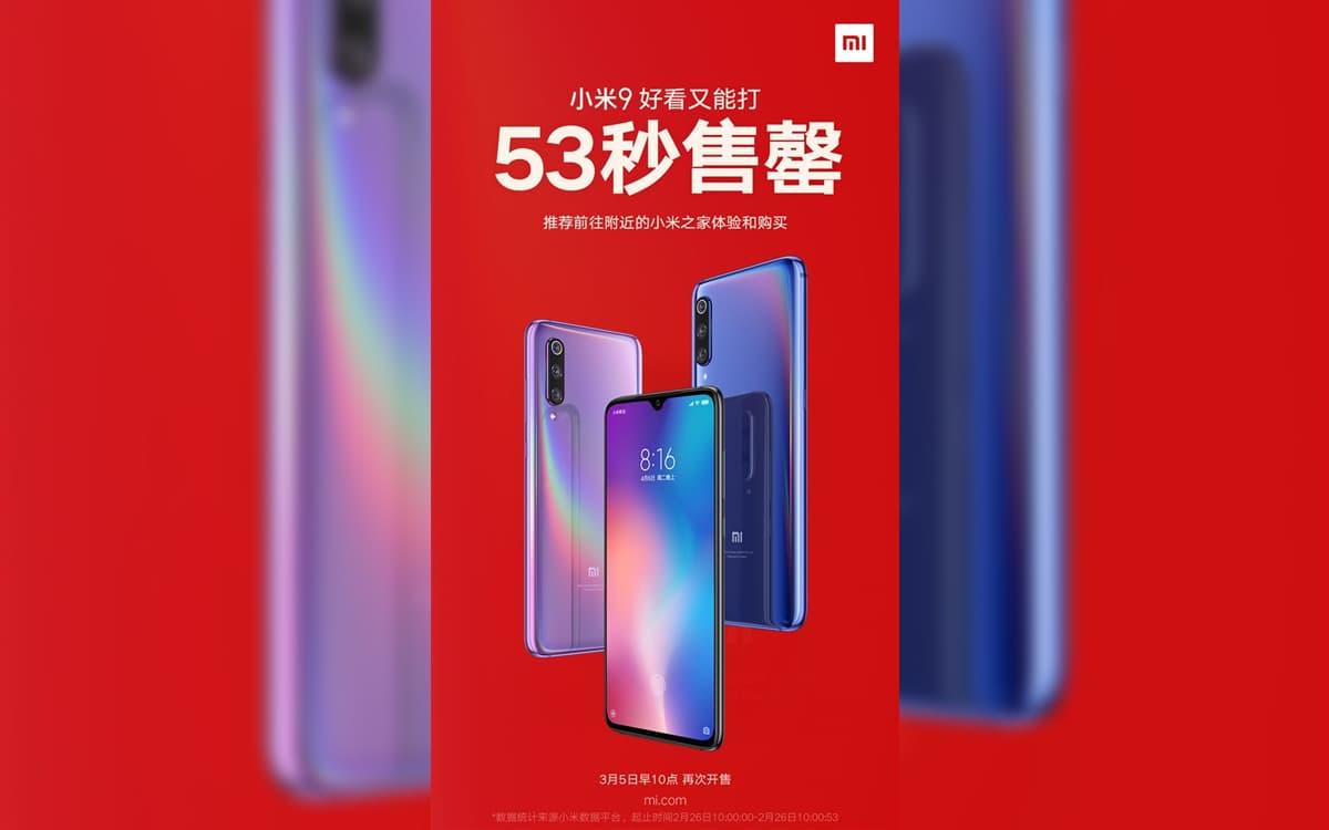 Xiaomi Mi 9 Esgota segundos