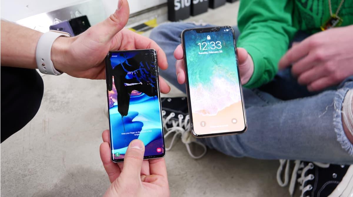 Samsung Galaxy S10+ vs iPhone Xs Max em teste de resistêcia